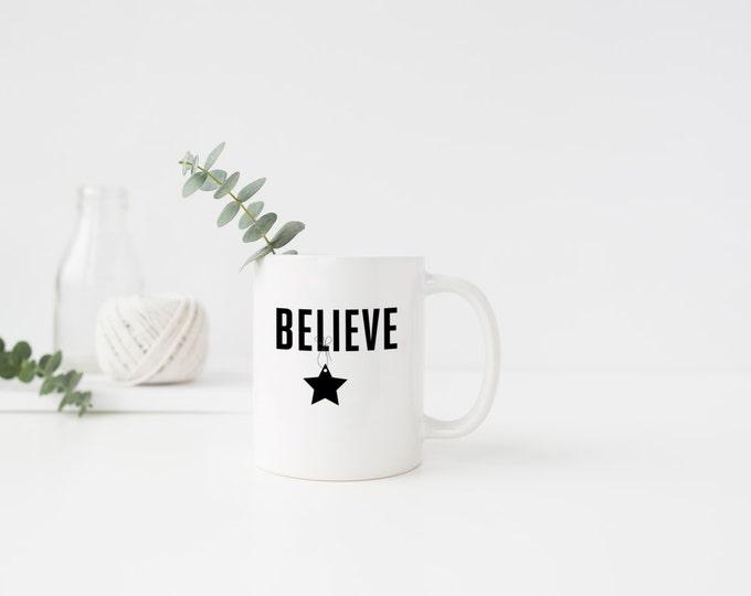 PLASTIC MUG, Coffee Mug, Coffee Cup, Believe, Star Positivity, Uplift, Confident