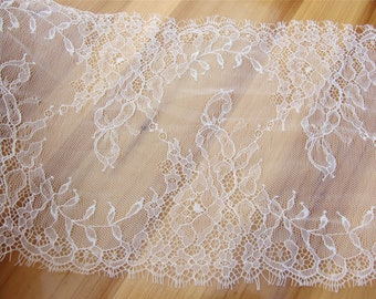 Chantilly  Lace trim,  Eyelash Lace Trim in black for sewing, Shawls, Skirt, Lingerie,white lace trim