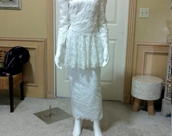 White Lace Wedding Dress,1900 style Wedding Dress,Edwardian Style Wedding Dress/ size XS/S