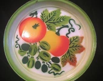 Vintage Retro Fruit Serving Tray Painted Metal