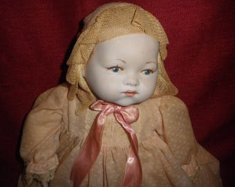 Antique Stuffed Doll with Bisque Head and Hands