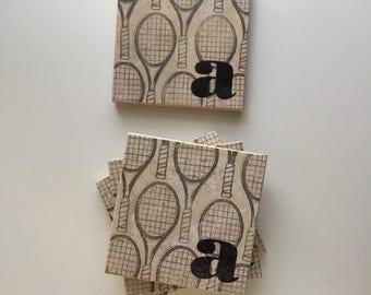 Monogram Tennis Coasters, Tennis Gift, Custom Tennis Captain Gift, Personalized Tennis Captain Gift, Tennis Team Gift
