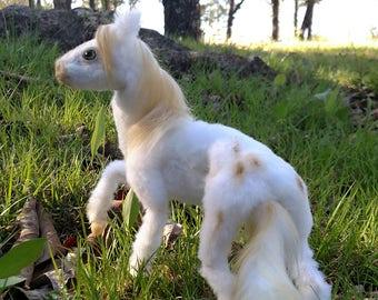 Wafer, the poseable tiny horse OOAK handmade Art doll.