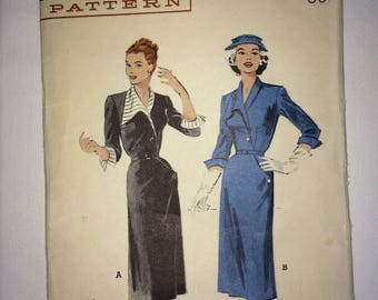 1950's Butterick pattern No. 6308 Plus Size 44