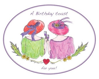 Birthday Card for a Woman Friend/Birthday Card for Sister/Birthday Card for Aunt Birthday/Birthday Card for Love/Pkg of 5 cards