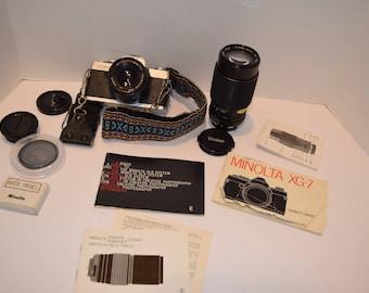 Vintage Minolta XG-7 Camera w/MD Rokkor-X 50mm Lens & Telephoto Lens /Accessories