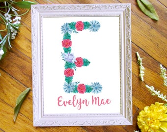 Floral Monogram, Nursery Wall Art, Digital Print, DIY Printing, Personalized Baby Art, Birth Announcement, Wall Art, Baby Name Wall Art
