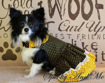 Little dress with polka dots black and yellow - Black and yellow spotted dress * ready to ship - Ready to ship *.