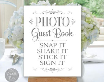 Photo Guest Book Printable Wedding Sign, Grey Matte/Faux Silver, Guest Book Alternative, Choose Your Size  (#GUE3A)