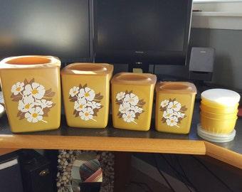 Vintage floral canister set - kitchen canister set - kitchen storage - canisters - kitchen canisters - storage canisters - vintage canisters