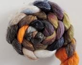 Cachemire faux lin de Shetland, déjeuner de Saint-Jean, peint à la main des fibres à filer, 125 g peigné fleuries