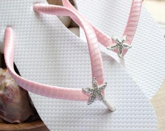 Bachelorette party favor, FLIP FLOPS Light Pink Flip Flops, beach wedding shoes, Bridesmaid gift, Bridal sandals, Bridal shower