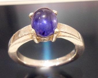 sapphire cabochon ring royal blue 2.6ct natural