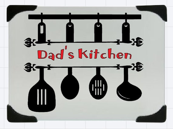 Dad's kitchen glass cutting board, Nonno's Kitchen chopping board, Daddy's chopping board, Pop's cutting board, glass chopping board