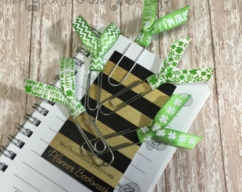 Day week planner, st pattys day ribbon bookmarks, Filofax, Green Party favors, teacher gift, Irish clover lucky, st particks day bookmark