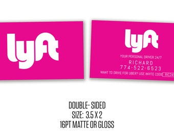 Uber/Lyft Business Cards Social Media Cards New Uber Logo
