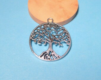 10pcs Antique Silver Round Tree charms Pendants 25mm