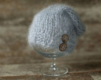Newborn mohair Hat,Baby knitted hat, Baby Boy  Hat, Knit baby hat, Photo prop, Photography Hat, Hat with button