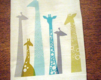 Blue Giraffe Flour Sack Kitchen Towel
