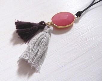 Halbedelstein rot Toddel an schwarzer Baumwollkordel verstellbar adjustable Valentinstag