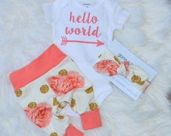 Hello world newborn outfit, hello world, girl take home outfit, girl coming home outfit, girl hospital outfit, newborn take home outfit
