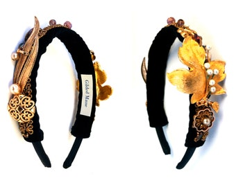 GILDED-MANE Goldtone Headband featuring Vintage Brooches & Findings
