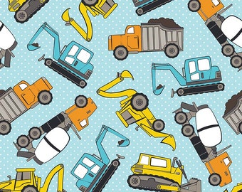 Diggers and Trucks FLANNEL Fabric in Blue from Riley Blake