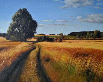 Landschaftsmalerei realismus  Lavendel Feld Landschaftsmalerei Leinwand Malerei Baum