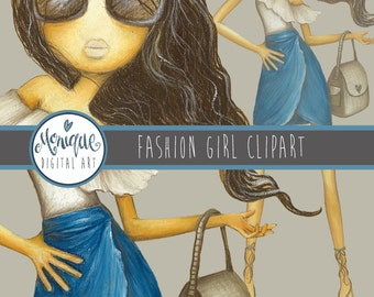 Fashion Girl Clipart Illustration, fashion blogger, fashion planner girl