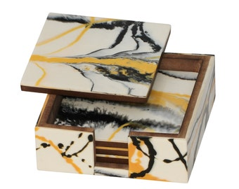 SouvNear Square Coasters -SouvNear 4.5Inches Drink Coaster Set of 4 with Holder -Yellow, Black & White Abstract Art