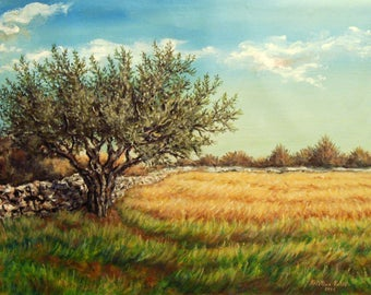 Landscape Painting, Olive Tree Painting, Acrylic on Canvas, Tree Painting.