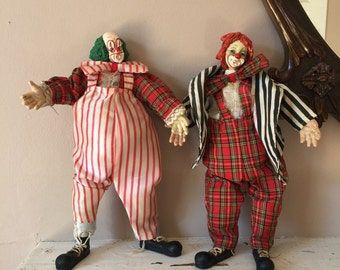 Set of 2 Vintage Clay Circus Clown Dolls