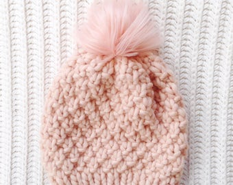 Faux Fur Pom Pom, 100% Wool Hand Knit Chunky Hat, Chunky Knit Beanie, Knit Pom Pom Hat / / THE LINDEN, Ready to Ship