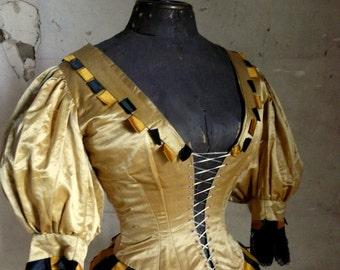 antique victorian satin circus bodice corset shabby chic