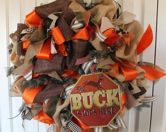 Ready to Ship-extra large burlap Hunting wreath.  Burlap Hunting decor.  Hunter gift.  Camouflage hunting decor.  Rustic hunting wreath