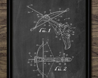 Crossbow Patent Print - Crossbow Design - Projectile Weapon Invention - Weapon - Crossbow Bolt - Single Print #2160 - INSTANT DOWNLOAD