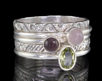 Set of 5 Stack Rings, Garnet, Peridot, Rose Quartz, 925 Sterling Silver Stacking Rings - US Size 12.5 (Z) #B190