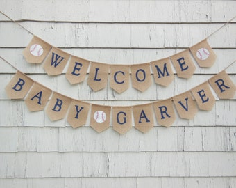 Vintage Baseball Baby Shower Decor, Welcome Baby Banner, Vintage Baseball Baby Burlap Banner, Custom Baby Shower Banner Garland Bunting