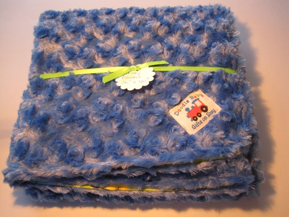 "Blankie/Bedding/Minky/Flannel - 30"" x 40"" Soft, Cuddly, Minky/Flannel blanket, Sapphire Blue/Lime Green/animals"