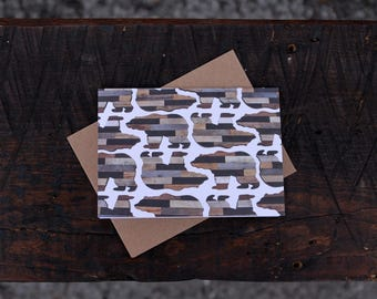 Rustic Bear Pattern Folded Note Cards