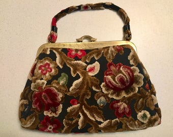Vintage Tapestry GARAY Handbag, Floral Carpeted Clutch Purse w/Gold Metal Hardware Closure, BOHO Style Bag, Made in U.S.A. Woman's Accessory