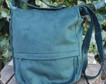 Corduroy messenger bag,zippered big bag