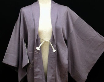 Vintage Kimono / Japanese Silk Kimono Haori Jacket / Rinzu / Kimono Cardigan / Short Robe / 030405