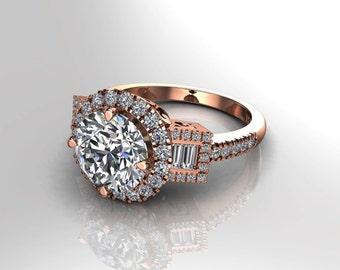 Moissanite & Diamond Engagement Ring Charles Colvard Forever One Center 18k Rose Gold 3 stone Anniversary Ring Natural Diamonds Ring