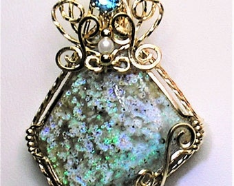 Louisiana Opal (Extremely Rare) Handmade Wire-Wrapped Pendant with Topaz - A True Collector's Gemstone - Extraordinary Fire!!!
