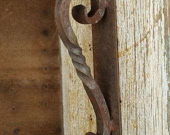 Rustic Door Hardware- Iron Door Handle #4-Mexican-Iron-Hand Hammered-Decorative Iron Hardware-3.5Wx16Lx4D in