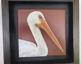 White pelican painting