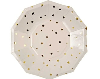 Gold Star Paper Plates (Small), Meri Meri Toot Sweet Gold Party Plates, Twinkle Twinkle Little Star Baby Shower, Gold Star Childrens Party