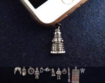 Doctor Who earphone dust plug charm with the charm of your choice.