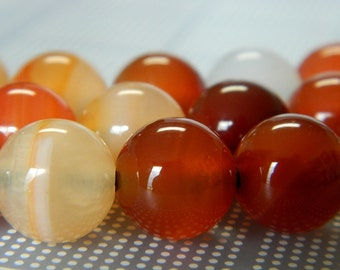"12MM BIG HOLE Multicolor Carnelian Round Beads - Large Hole Carnelian Beads - Gemstone Beads - 8"" Bead Strand, Approximately 17 Beads"